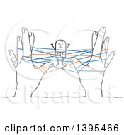 Clipart Of A Sketched Stick Business Man Stuck In Networking Strings Connected Between Hands Royalty Free Vector Illustration by NL shop
