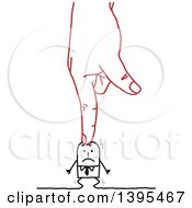 Clipart Of A Sketched Red Hand Pushing A Stick Business Man Down Into The Ground Royalty Free Vector Illustration