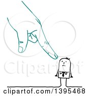 Clipart Of A Sketched Blue Accusing Hand Pointing At A Stick Business Man Royalty Free Vector Illustration