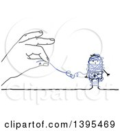 Clipart Of A Sketched Blue Hand Unraveling String Around A Stick Business Man Royalty Free Vector Illustration