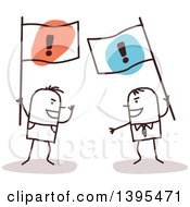Clipart Of Sketched Stick Men Arguing And Holding Opposing Flags Royalty Free Vector Illustration