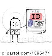 Clipart Of A Sketched Stick Business Man Holding An Id Royalty Free Vector Illustration
