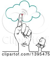 Clipart Of A Sketched Hand Pointing To The Cloud By A Stick Business Man Royalty Free Vector Illustration