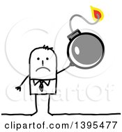 Clipart Of A Sketched Stick Business Man Holding A Bomb Royalty Free Vector Illustration