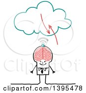 Clipart Of A Sketched Stick Business Man With A Big Brain Connecting To The Cloud Royalty Free Vector Illustration