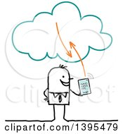 Clipart Of A Sketched Stick Business Man Using A Tablet On The Cloud Royalty Free Vector Illustration