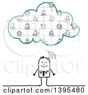 Clipart Of A Sketched Stick Business Man Connected And Socializing On The Cloud Royalty Free Vector Illustration