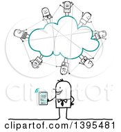 Poster, Art Print Of Sketched Stick Business Man Social Networking On The Cloud With A Tablet Computer