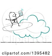 Clipart Of A Sketched Stick Business Man Surfing The Cloud On A Tablet Royalty Free Vector Illustration