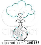 Clipart Of A Sketched Stick Business Man Connected To The Cloud And Standing On Earth Royalty Free Vector Illustration