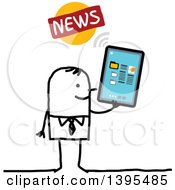 Clipart Of A Sketched Stick Man Reading The News On A Tablet Computer Royalty Free Vector Illustration
