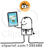 Clipart Of A Sketched Stick Man Watching Videos With A Tablet Computer Royalty Free Vector Illustration