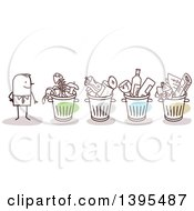 Clipart Of A Sketched Stick Business Man With Organized Recycle And Trash Bins Royalty Free Vector Illustration
