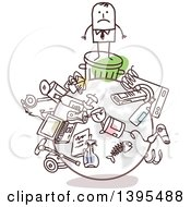 Clipart Of A Sketched Stick Business Man On A Trashed Earth Royalty Free Vector Illustration