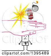 Clipart Of A Sketched Pink Hand Protecting A Stick Business Man From A Bomb Royalty Free Vector Illustration by NL shop