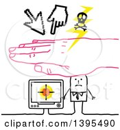 Clipart Of A Sketched Pink Hand Protecting A Stick Business Man From A Cyber Attack Royalty Free Vector Illustration