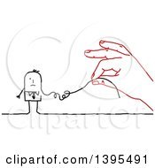 Clipart Of A Sketched Red Hand Deconstructing A Stick Business Man Like A String Royalty Free Vector Illustration