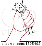 Clipart Of A Sketched Red Hand Squeezing A Stick Business Man Royalty Free Vector Illustration