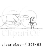 Clipart Of A Sketched Gun Hand Pointing To A Stick Business Man Royalty Free Vector Illustration