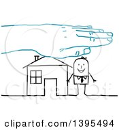 Clipart Of A Blue Hand Over A Sketched Stick Business Man And House Royalty Free Vector Illustration