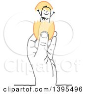 Clipart Of A Sketched Gray Hand Holding A Stick Man In An Egg Royalty Free Vector Illustration
