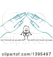 Clipart Of A Sketched Stick Business Man Under A Roof Of Blue Hands Royalty Free Vector Illustration by NL shop