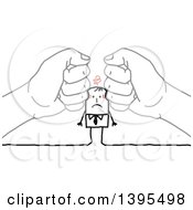 Clipart Of Sketched Hands Squishing A Stick Business Man Royalty Free Vector Illustration