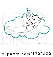 Clipart Of A Sketched Stick Man Relaxing And Using A Tablet On The Cloud Royalty Free Vector Illustration