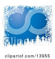 Snow Flocked Tree Silhouettes Over A Blue Wintry Background Bordered By White Snowflakes Clipart Illustration by Rasmussen Images #COLLC13955-0030