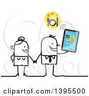Clipart Of A Sketched Stick Man And Woman Holding Hands Looking For A Place To Eat At On A Tablet Computer Royalty Free Vector Illustration