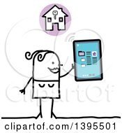 Clipart Of A Sketched Stick Woman House Hunting With A Tablet Computer Royalty Free Vector Illustration