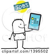 Clipart Of A Sketched Stick Man Job Seeking On A Tablet Computer Royalty Free Vector Illustration