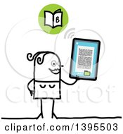 Clipart Of A Sketched Stick Woman Reading An E Book On A Tablet Computer Royalty Free Vector Illustration