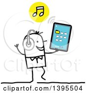 Clipart Of A Sketched Stick Man Listening To Music On A Tablet Computer Royalty Free Vector Illustration