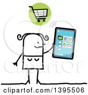 Clipart Of A Sketched Stick Woman Online Shopping With A Tablet Computer Royalty Free Vector Illustration