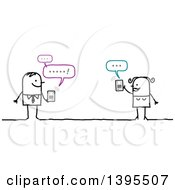 Clipart Of A Sketched Stick Couple Texting On A Tablet Computer Or Smart Phone Royalty Free Vector Illustration