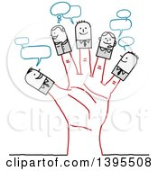 Sketched Stick People On Fingers Of A Hand