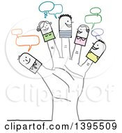 Clipart Of Sketched Stick People On Fingers Of A Hand Royalty Free Vector Illustration