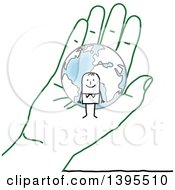Clipart Of A Sketched Stick Man And Globe In A Green Hand Royalty Free Vector Illustration