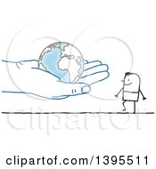 Clipart Of A Sketched Blue Hand Holding A Globe Out To A Stick Man Royalty Free Vector Illustration