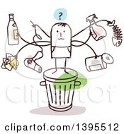Clipart Of A Sketched Stick Man With Many Arms Holding Items On Top Of A Trash Can Royalty Free Vector Illustration
