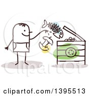 Clipart Of A Sketched Stick Man Tossing Food Into A Compost Or Recycle Bin Royalty Free Vector Illustration