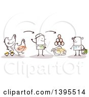 Clipart Of A Sketched Stick Man Farmer Discussing Chicken Poultry And Egg Production With A Female Customer Royalty Free Vector Illustration