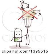 Clipart Of A Sketched Stick Man Holding A Crossed Out Cow On A Fork Royalty Free Vector Illustration by NL shop
