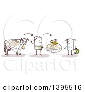 Clipart Of A Sketched Stick Man Farmer Discussing Beef And Cheese With A Female Customer Royalty Free Vector Illustration