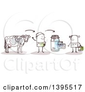 Clipart Of A Sketched Stick Man Farmer Discussing Beef And Milk With A Female Customer Royalty Free Vector Illustration