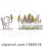 Clipart Of A Sketched Stick Male Wheat Farmer Royalty Free Vector Illustration