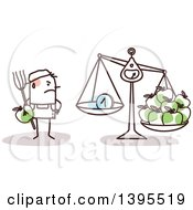 Clipart Of A Sketched Stick Man Weighing Apples And Earnings Not Good Income Royalty Free Vector Illustration