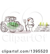 Clipart Of A Sketched Stick Man Farmer By A Tractor And Crop Royalty Free Vector Illustration
