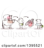 Clipart Of A Sketched Stick Man Butcher Explaining Slaughter Of Pig And Cow And How He Cuts The Meat To A Female Customer Royalty Free Vector Illustration